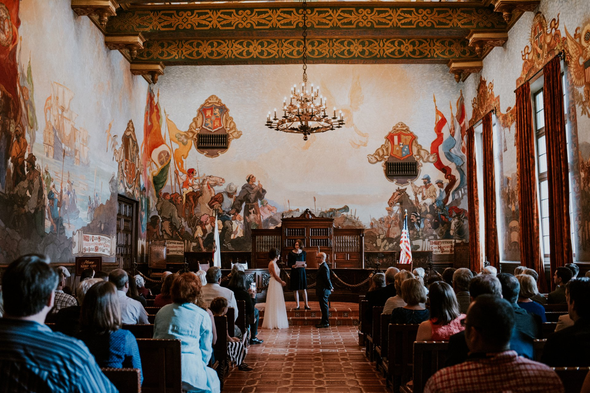 Photojournalistic wedding photography santa barbara for Mural room santa barbara courthouse